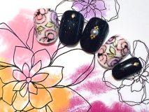 定額Bコース¥11000- (ご新規様¥8800-) 黒とお花のミックスデザイン!上品でかわいい!!