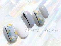 定額Cコース¥9800- (ご新規様¥7840-) 小花柄とラインテープを合わせて フレンチテイストな可愛さ✿