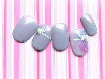 定額Dコース¥8500- (ご新規様¥6800-) カラフルな水彩デザインに、ペールカラーを合わせ春っぽく仕上げました❀