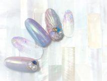 定額Aコース¥12000- (ご新規様¥9600-) 大人気、人魚の鱗ネイル 夏の暑いうちがチャンス